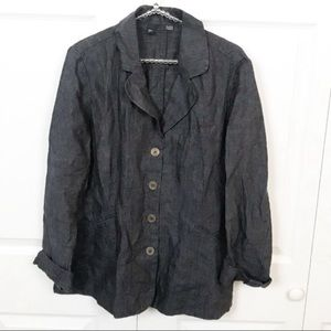 Eileen Fisher l Chambray Linen Button Down Top